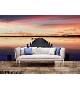 Romantic scenery starnberg lake, at sunset Wall Mural Wall art Wall decor