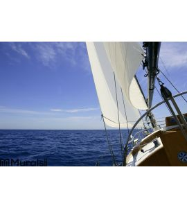 Sailboat sailing blue sea on sunny summer day Wall Mural