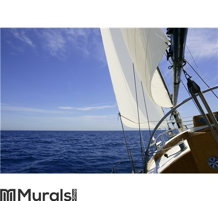 Sailboat sailing blue sea on sunny summer day Wall Mural Wall art Wall decor