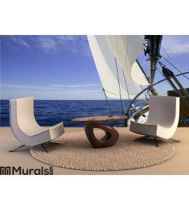 Sailboat sailing blue sea on sunny summer day Wall Mural Wall art Wall decor