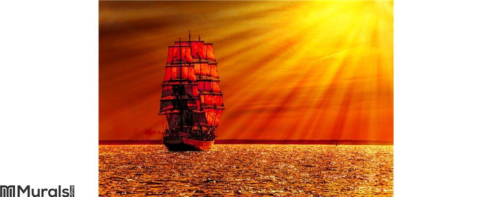 Sailing ship on the sea Wall Mural