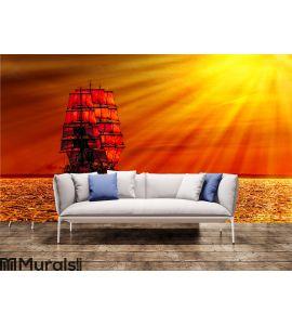 Sailing ship on the sea Wall Mural Wall art Wall decor