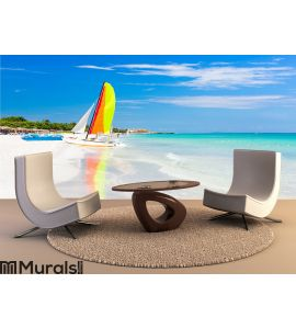 Scene with sailing boat in Cuba Wall Mural Wall art Wall decor