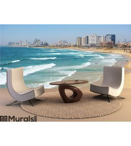 Sea coast and the view of Tel Aviv at the evening Wall Mural Wall art Wall decor