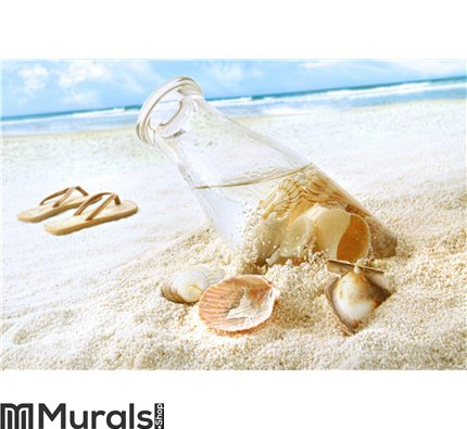 Seashells in a bottle on the beach Wall Mural Wall art Wall decor