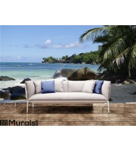 Shady place under Palm trees at Beau Vallon Wall Mural Wall art Wall decor