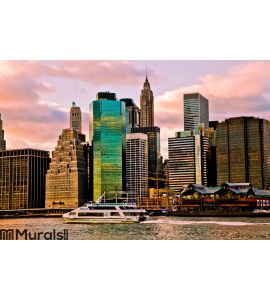 Sunset Time View of Manhattan, New York, USA Wall Mural