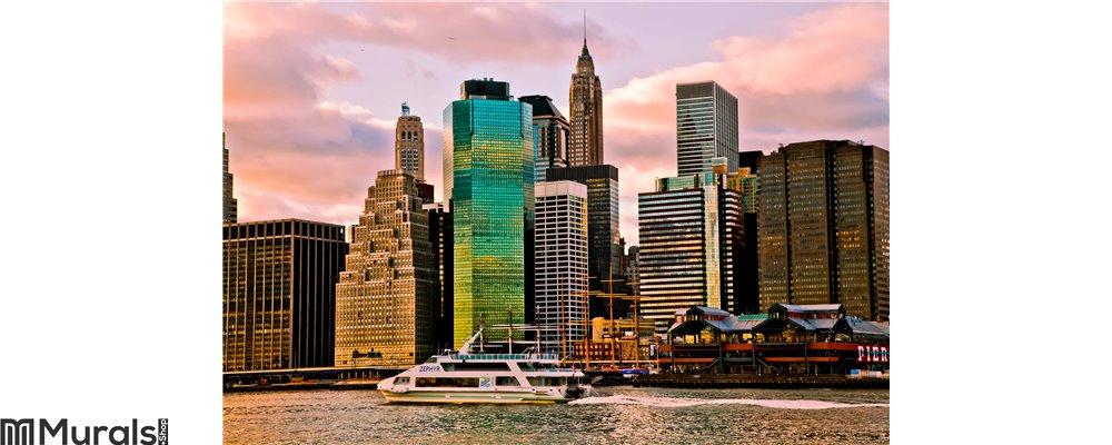 Sunset Time View of Manhattan, New York, USA Wall Mural