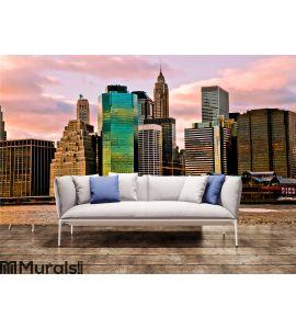 Sunset Time View of Manhattan, New York, USA Wall Mural Wall art Wall decor