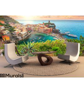 Vernazza village and stunning sunrise Wall Mural Wall art Wall decor