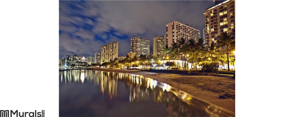 Waikiki Beach, Oahu Hawaii, cityscape sunset Wall Mural