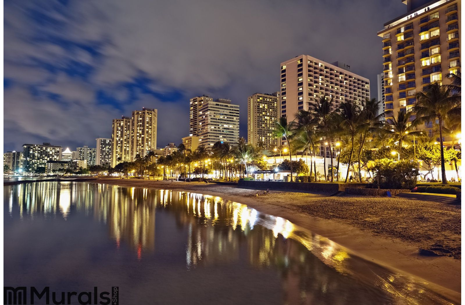Waikiki beach oahu hawaii cityscape sunset wall mural for Cityscape murals photo wall mural