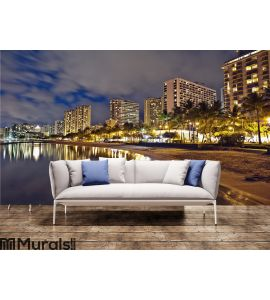 Waikiki Beach, Oahu Hawaii, cityscape sunset Wall Mural