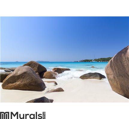 White coral beach sand and azure indian ocean Wall Mural Wall art Wall decor