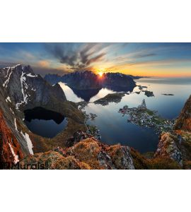 Nature panorama mountain landscape at sunset, Norway. Wall Mural Wall art Wall decor