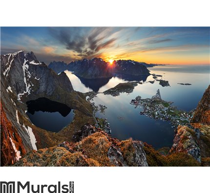 Nature panorama mountain landscape at sunset Norway Wall Mural