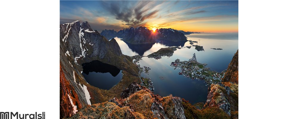 Nature panorama mountain landscape at sunset, Norway. Wall Mural