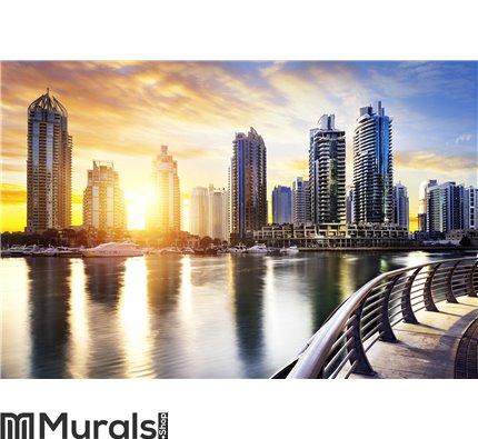 Cityscape of Dubai at night, United Arab Emirates Wall Mural Wall art Wall decor
