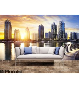 Cityscape of Dubai at night, United Arab Emirates Wall Mural Wall art Wall decor