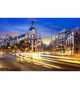Madrid city center, Gran Vis Spain Wall Mural