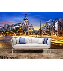 Madrid city center, Gran Vis Spain Wall Mural Wall art Wall decor