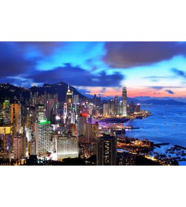 Hong Kong Sunset Wall Mural