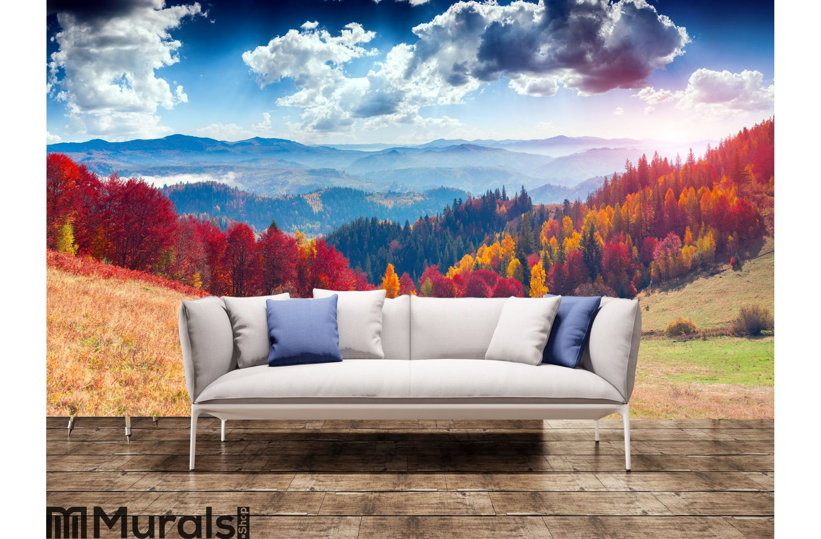 Colorful Autumn Landscape In The Mountain Village Foggy Morning Wall Mural