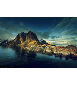 Fishing hut at spring sunset - Reine, Lofoten islands Wall Mural