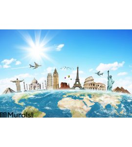 Travel the world clouds concept Wall Mural Wall art Wall decor