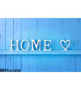 Home Love Blue Background Wall Mural Wall art Wall decor