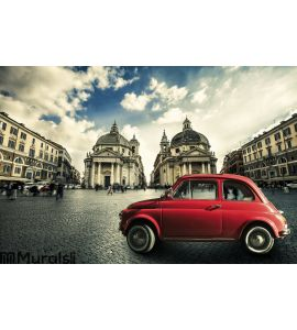 Old red vintage car italian scene in the historic center of Rome. Italy Wall Mural