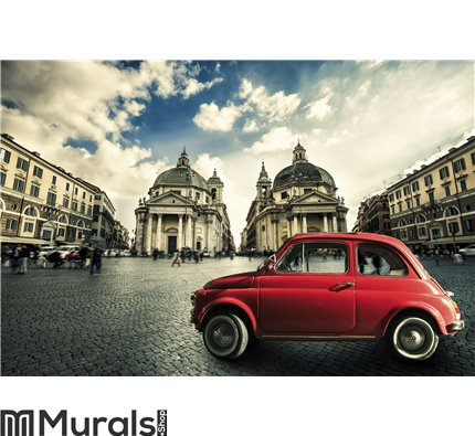 Old red vintage car italian scene in the historic center of Rome. Italy Wall Mural Wall art Wall decor