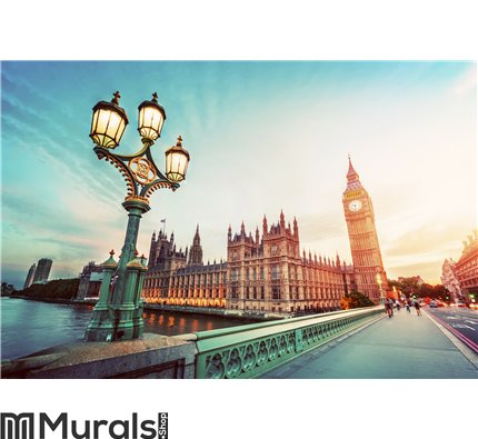 Big Ben, London the UK at sunset. Retro street lamp light on Westminster Bridge. Vintage Wall Mural Wall art Wall decor
