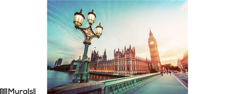Big Ben, London the UK at sunset. Retro street lamp light on Westminster Bridge. Vintage Wall Mural