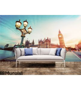 Big Ben, London the UK at sunset. Retro street lamp light on Westminster Bridge. Vintage Wall Mural