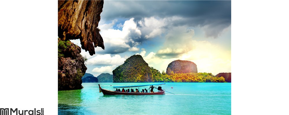 Beautiful beach landscape in Thailand. Phang Nga Bay, Andaman Sea, Phuket. Wall Mural