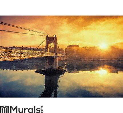Sunrise on footbridge Wall Mural Wall art Wall decor