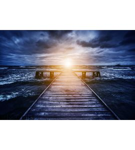 Old wooden jetty during storm on the ocean. Abstract light Wall Mural Wall art Wall decor