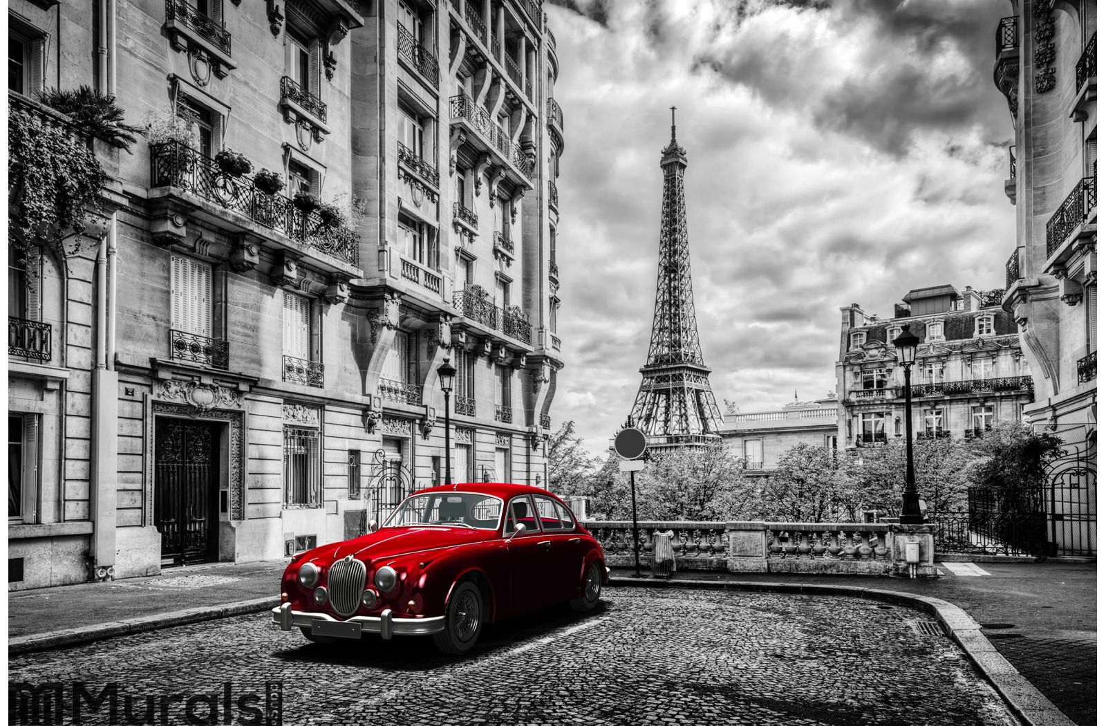 artistic paris france eiffel tower seen from the street with red eiffel tower seen from the street with red retro limousine car wall mural