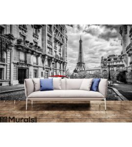 Artistic Paris, France. Eiffel Tower seen from the street with red retro limousine car. Wall Mural Wall art Wall decor