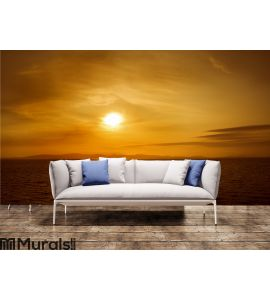 Sunset on sea. Bright sun on sky. beach landscape Wall Mural