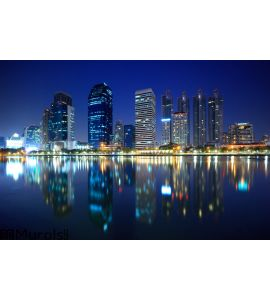 Panorama of Bangkok city at night, Thailand Wall Mural