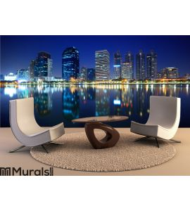 Panorama of Bangkok city at night, Thailand Wall Mural Wall art Wall decor