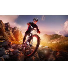 Mountain Bike cyclist riding Wall Mural