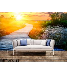 Wooden path at sunset Wall Mural Wall art Wall decor