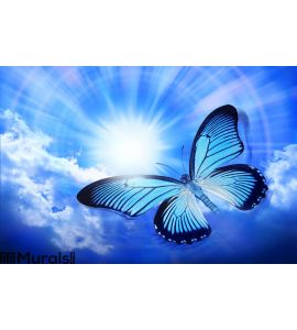 Butterfly Blue Sky Sun Nature Wall Mural Wall art Wall decor