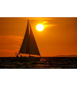 Sailboat-sunset-orange sky Wall Mural