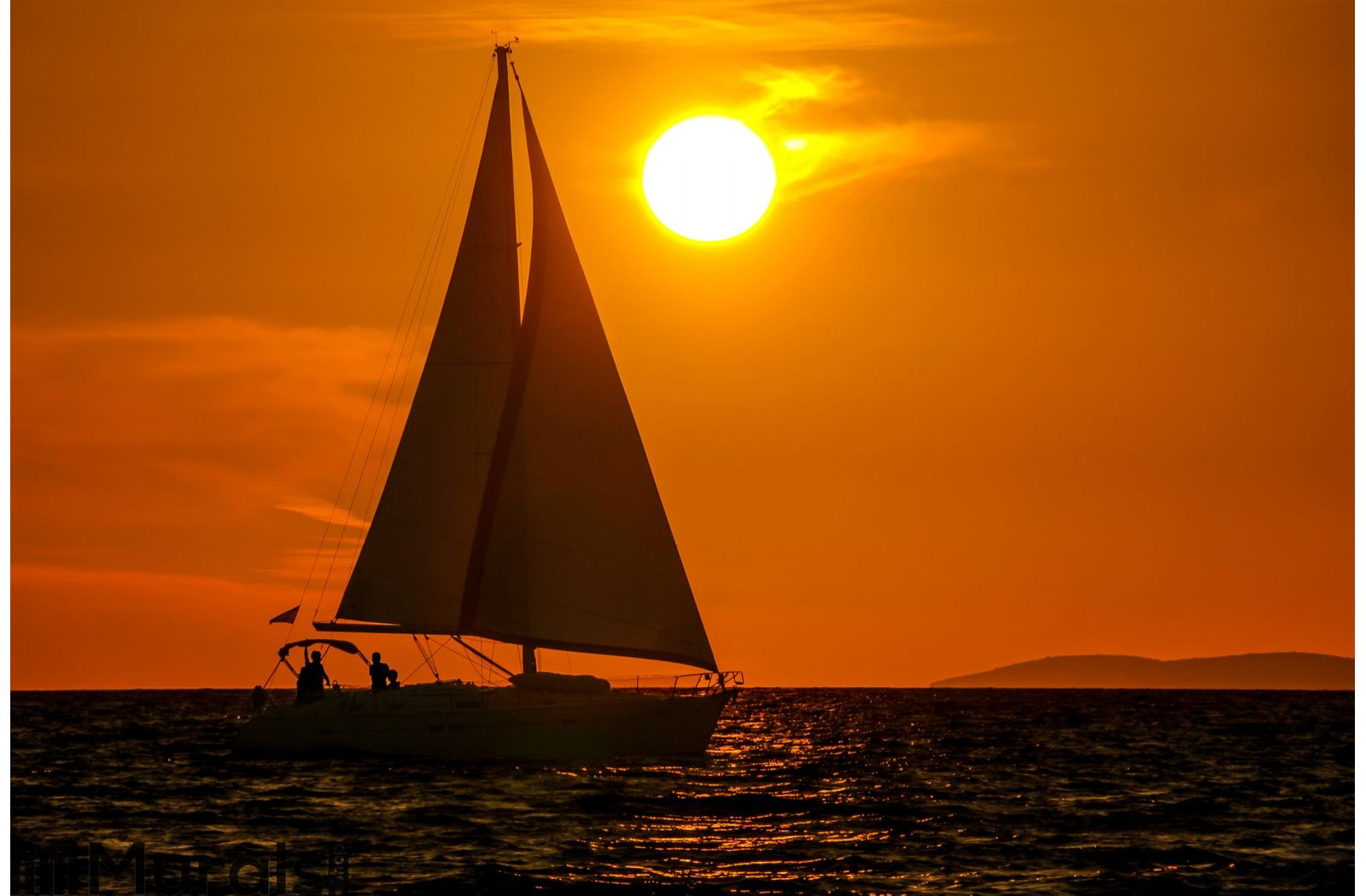 sailboat sunset orange sky wall mural