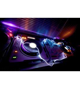Glowing DJ Equipment Wall Mural