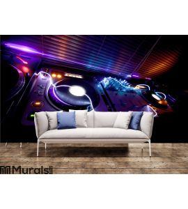 Glowing DJ Equipment Wall Mural Wall art Wall decor